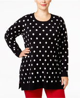 Charter Club Plus Size Dot-Print Sweater, Only at Macy's