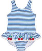 Florence Eiseman Skirted One-Piece Striped Seersucker Swimsuit, Blue, Size 6-24 Months