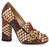 Gucci Marmont GG Python Block-Heel Pumps