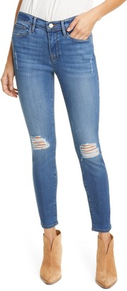 Frame Le Skinny de Jeanne Distressed Ankle Skinny Jeans
