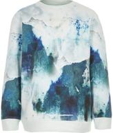 River Island Boys blue smudge print sweatshirt