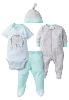 Gerber Baby Boy or Girl Gender Neutral Onesies Bodysuit, Sleep N Play Sleepers, Pants, & Cap Set, 4-Piece