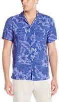 Caribbean Joe Men's Slim Fit Short Sleeve Button Up Tonal Rayon Hawaiian Shirt