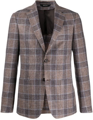 Ermenegildo Zegna Fitted Checked Pattern Blazer