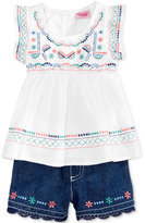 Nannette 2-Pc. Embroidered Flutter Top & Shorts Set, Toddler & Little Girls (2T-6X)