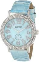August Steiner Women's AS8030BU Mother-of-Pearl Crystal Quartz Strap Watch