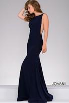 Jovani Open Back Long Jersey Dress 47100