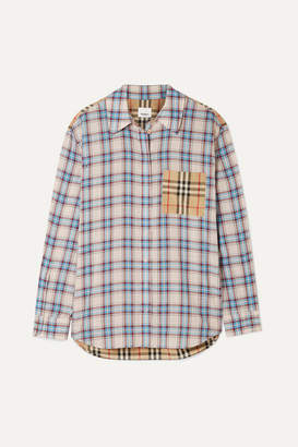 Burberry Paneled Checked Lyocell And Cotton-poplin Shirt - Ecru