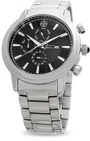 Mark & James by Badgley Mischka Silver & Black Stainless Steel Chronograph Watch
