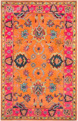 "nuLoom Hand-Tufted Bohemian Vibrant Floral Wool Oversized Rug, Orange, 9'6""x1"