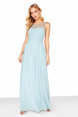 Little Mistress Grace Pewter Embellished Neck Maxi Dress