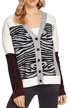 Vince Camuto Mixed-Animal-Print Cardigan