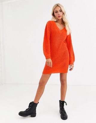 Brave Soul harrison v neck jumper dress-Orange