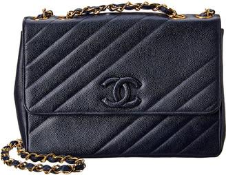 Chanel Navy Caviar Leather Diagonal Jumbo Single Flap Bag
