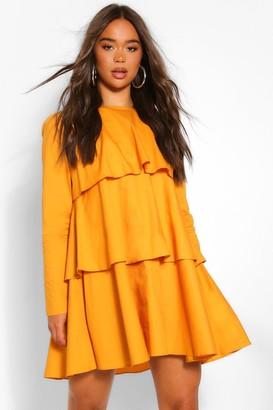 boohoo Cotton Long Sleeve Tiered Swing Dress