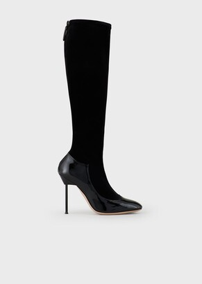 Giorgio Armani Patent Leather And Velvet Boots With Stiletto Heel