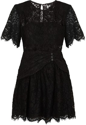 Self-Portrait Black guipure lace mini dress