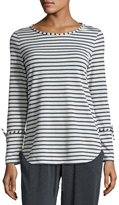 Max Studio Long-Sleeve Stripe-Print Top, Natural/Navy