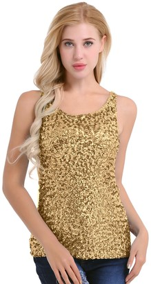dPois Women's Camisole Shimmer Glam Sequin Embellished Sparkle Party Tank Top Vest Gold One Size