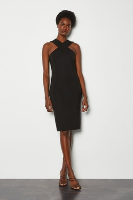 Karen Millen Rivet Detail Cross Neck Ponte Dress