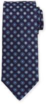 Eton Woven Flower Medallion Silk Tie, Blue