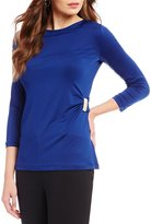 Preston & York Patricia Solid Side Buckle Knit Blouse