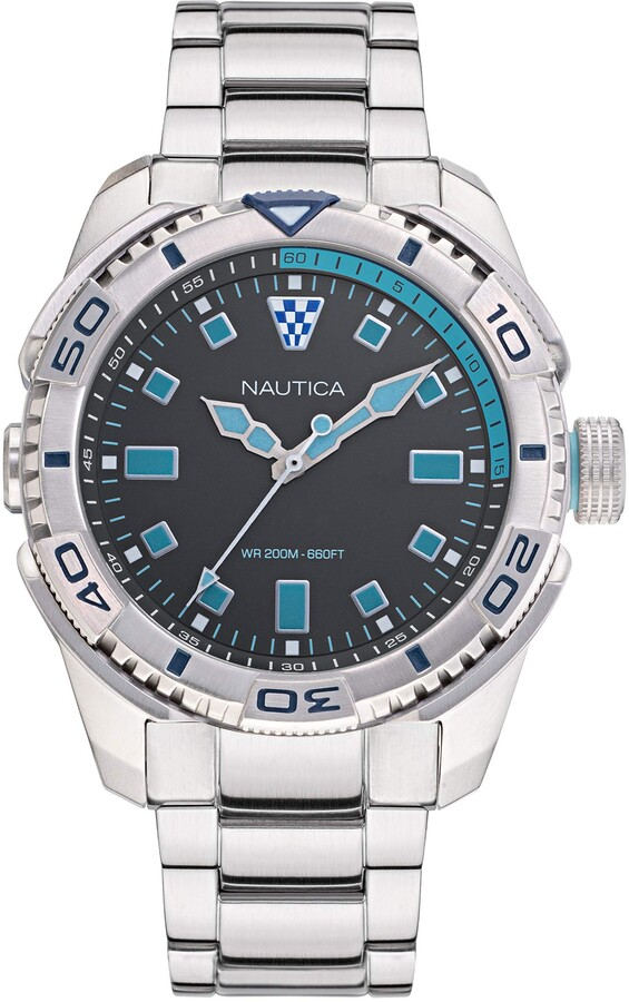 Nautica Men's Tarpoon Dive Japanese Quartz Watch with Stainless Steel Strap Metallic 24 (Model: NAPTDS005)
