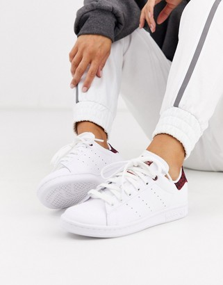 adidas leopard print Stan Smith sneakers in white and maroon