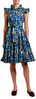 Marni Double J Short & Sassy Geometric Print Ruffled Poplin Dress