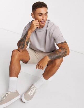 Topman high neck t-shirt in grey