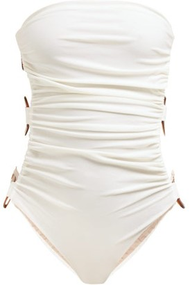 Adriana Degreas Strapless Side-hoop Swimsuit - White