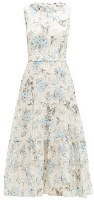 Goat July Floral-print Cotton-blend Organza Dress - Light Blue