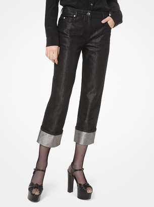 Michael Kors Metallic Denim Cuffed Jeans