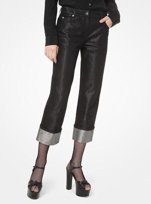 Michael Kors Metallic Denim Cuffed Jeans