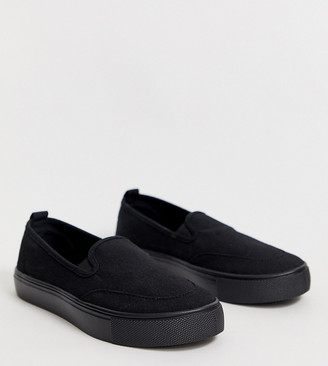 Dexter Asos Design ASOS DESIGN Wide Fit slip on plimsolls in black