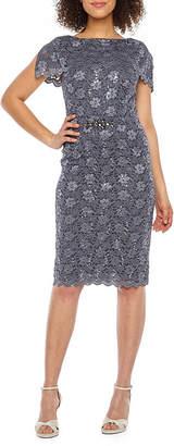 Jackie Jon Short Sleeve Embellished Sequin Lace Sheath Dress