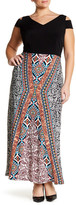 London Times Printed Maxi Dress (Plus Size)