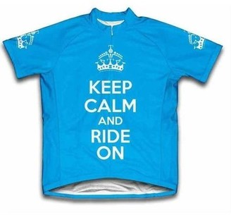 Scudo Keep Calm and Ride On Microfiber Short-Sleeved Ladies' Cycling Jersey, Blue, L