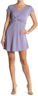 Double Zero Twist Front Short Sleeve Mini Dress