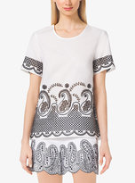 Michael Kors Embroidered Cotton-Voile Top