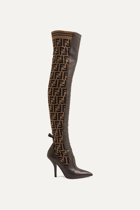 Fendi Rockoko Logo-jacquard Stretch-knit And Leather Over-the-knee Boots - Brown