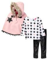 Betsey Johnson Star Print Tee, Faux Fur Trimmed Cape & Pleather Legging Set (Toddler Girls)