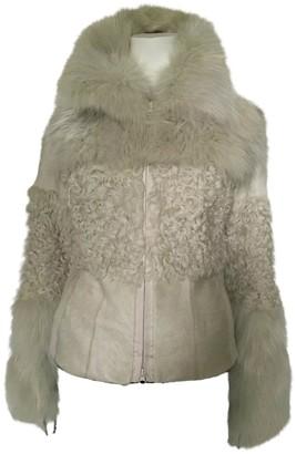 Pinko Beige Shearling Coat for Women
