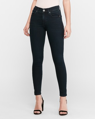 Express Mid Rise Supersoft Dark Wash Ankle Skinny Jeans