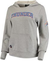 Unbranded Women's Heathered Gray Oklahoma City Thunder French Terry Lining Thumbhole Pullover Hoodie