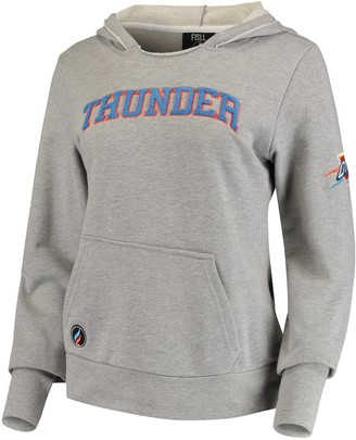 Women's Heathered Gray Oklahoma City Thunder French Terry Lining Thumbhole Pullover Hoodie