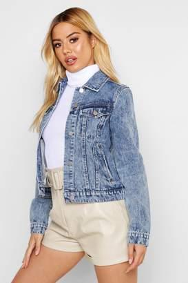 boohoo Petite Soft Acid Wash Denim Jacket