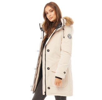 Brave Soul Womens Jacobs Faux Fur Parka Cream