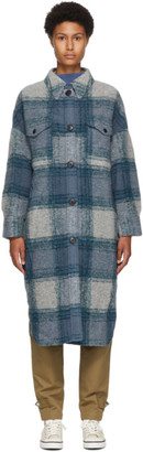 Etoile Isabel Marant Blue Wool Gabrion Coat