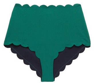 Marysia Swim Santa Monica Scalloped High-rise Bikini Briefs - Womens - Green